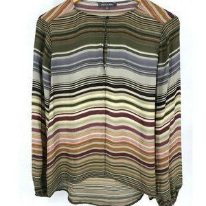 Michael Stars Womens Silk Blouse Striped Top Small
